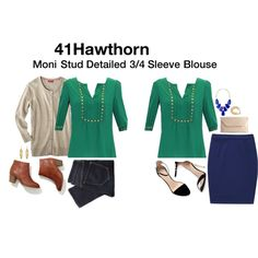 StitchFix: 41Hawthorn Stud Detailed 3/4 Sleeve Blouse | Moni Stud Detailed 3/4 Sleeve Blouse - I'd love this green or a fun colored print!