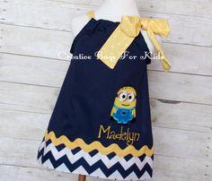 Personalized Minion Dress/ Minion Dress (matching Minion bag available) by CreativeBagsForKids on Etsy