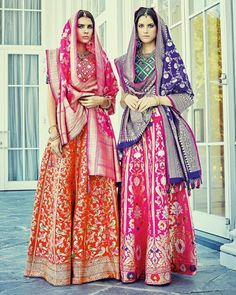 In love with these Banarasi Lehenghas in the latest edition of Harper's Bazaar India Bride ! Image from: Harper's Bazaar India Bride Indian Wedding Wear, Indian Party Wear, Indian Wear, Pakistani Party Wear, Pakistani Outfits, Indian Outfits, Look Short, Indian Look, Desi Wear