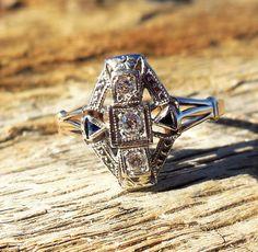 Vintage Antique .22ct Old European Cut Diamond Sapphire Unique Engagement Ring Art Deco 1920 14k Yellow & White Gold by DiamondAddiction on Etsy