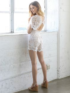 0b6f4602455 White and nude lace romper with sleeves and cutout details. Sexy summer  outfit for the. Social Butterfly House