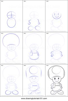 How to Draw Toad from Super Mario printable step by step drawing sheet : Drawing. How to Draw Toad from Super Mario printable step by step drawing sheet : Doodle Drawings, Cartoon Drawings, Animal Drawings, Drawing Cartoon Characters, Movie Characters, Easy Disney Drawings, Easy Drawings, Easy Sketches, Drawing Sheet
