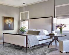 Contemporary Gray Bedroom with Wool-and-Silk Rug
