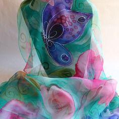 """Etole écharpe foulard en mousseline de soie peint main """" papillons rêve…"""