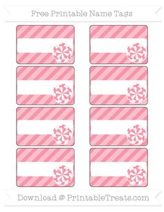 Free Pastel Pink Diagonal Striped  Cheer Pom Pom Name Tags