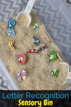This letter recognition sensory bin takes less than five minutes to put together and keeps kids actively engaged in learning their letters!