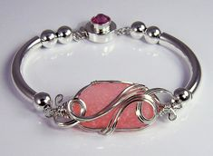 Pink Sea Glass Bangle Bracelet ::   Authentic piece of real pink sea glass in Argentium sterling silver by Danielle Renee