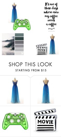 """Blue A Line Scoop Neck Chiffon Appliques Lace Long Prom Dress"" by harrydress on Polyvore featuring Bling Jewelry"