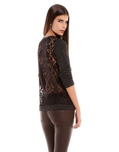 Black #Lace Back Combined Fabric #Grey Jumper