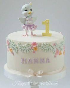 Baby Bird Cake Fondant Girl, Fondant Cakes, Cupcake Cakes, Birthday Cakes Girls Kids, First Birthday Cakes, Beautiful Cake Designs, Beautiful Cakes, Baby Girl Cakes, Bird Cakes