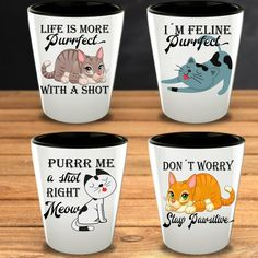 Gifts for Cat Lover Funny Shot Glasses Animal Lover Cat People Lady Pet Owners Cat Obsessed Birthday Friend Christmas for Her Cat Lady Cat Lover Gifts, Cat Lovers, Funny Shot Glasses, Cat Shots, Shot Glass Set, 21st Gifts, Cat People, Glass Material, Glass Collection