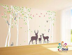 Abnehmbare Kindergarten Birkenwald Baum Mit Vögeln Rehkitz