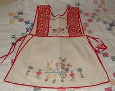 Darling vintage Child's Apron - Embroidery, Bunny, Calico