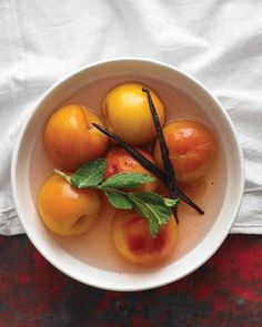 You can reserve the syrup to poach other fruits, such as nectarines. Store in the refrigerator and simply top off with a little water as needed.