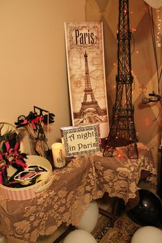 """Night in Paris"" themed Engagement Party"