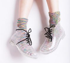 """TRANSPARENT RAIN BOOTS ♡Discount Code: """"kvnai"""" + free shipping on ALL ITEMS!♡…"""