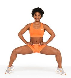 Tiptoe Plie Squat - Targets: Glutes, hamstrings, quads, and calves  Stand with feet more than shoulder-width apart, toes pointed out 45 degrees.  Lift heels off floor and squat, keeping knees above ankles.  Squeeze glutes to stand up; lower heels. Do 15 reps.