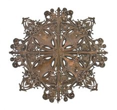 Late 19th century American ornamental bronze-plated cast iron flush mount elevator door medallion designed by notable architect Louis H. Sullivan with assistance by chief draftsman George Grant Elmslie. #Sullivan #elevator #medallion #historical #bronze