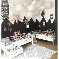 Black & white kids room. I feel like Jack Skellington's daughter would live here.