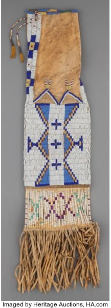 SIOUX BEADED HIDE TOBACCO BAG. c. 1890