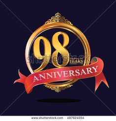 98 years anniversary golden logo with soft red ribbon. anniversary logo for birthday, celebration, wedding, party