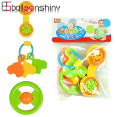 BalleenShiny 3pcs/set Baby Rattles Hand Bell Toys Set Fun Develop Intelligence Training Grasping Ability Toy Educational Gift