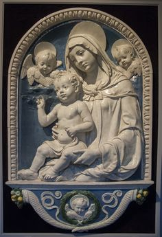 Andrea della Robbia (1435-1525) Madonna and Child  1490/1500 Medium glazed terracotta Dimensions without frame: 34 x 26 in. 86.4 x 66.0 cm overall dimensions with frame: 47 1/4 x 29 1/2 in. 120.0 x 74.9 cm Credit Gift of Mr. and Mrs. Walter O. Briggs Accession No.45.514 Provenance Lazzeri Collection, Villa di San Donato, Casellina, S. Michele a Torri, (near Scandicci); Luigi Grassi, Florence; Dr. Arturo Grassi, Indianapolis. Detroit Institute of Arts
