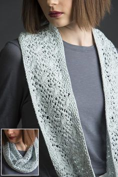 Free Knitting Pattern for Estee Refinded Cowl - Cable and lace infinity scarf in worsted weight. Designed by Jennifer Wood