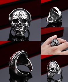 [Visit to Buy] Beier new store 316L Stainless Steel  Cool Tattoo Music Skull Ring For Man Stainless Steel Unique Design Skeleton Jewelry Man  #Advertisement