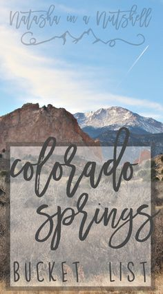 Colorado Springs Bucket List-She lived there for quit a while and has listed all of her favorite places with links to most of them. K (Favorite Places Vacations) Denver Colorado, Road Trip To Colorado, Moving To Colorado, Colorado Hiking, Colorado Springs Things To Do, Visit Colorado, Colorado Mountains, Rocky Mountains, Rocky Mountain National