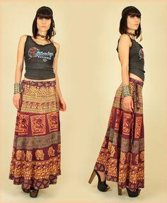 vintage hippie wrap around skirts block print | ViNtAgE 70's India Cotton Hookah Print MAXI by ...