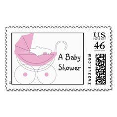 Baby Shower Stroller Postage Stamp