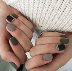 Black nails with white stripe, green nail and gray nail - Pinterest @catherinesullivan2017✨