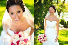 Erica. Wedding hair, wedding makeup, bridal hair, bridal makeup, Make Me Fabulous, brunette, summer, bride, classic, curls, updo, wedding.