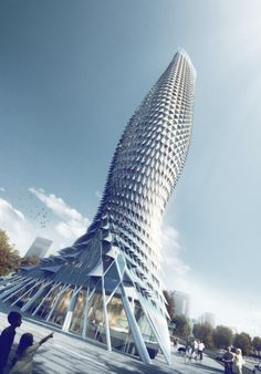 RMJM Designs Fish-Inspired Tower Clad with Aluminum Scales