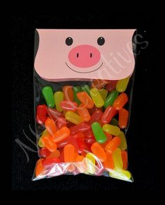 Pig Treat Bag Topper - DIY Printable Digital File - For Baby Shower or Kids Party. Make into a monster? Farm Themed Party, Farm Party, Farm Birthday, 2nd Birthday Parties, Pig Baby Shower, Baby Showers, Farm Animal Party, Pig Party, Three Little Pigs