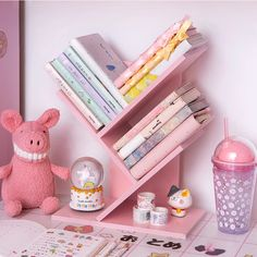Own your cute pink wooden bookshelf or bookcase to store your unfinished books and important notes. This kawaii bookshelf is perfect for your side table or study table. Study Room Decor, Cute Room Decor, Room Ideas Bedroom, Bedroom Decor, Pastel Room Decor, Kawaii Bedroom, Aesthetic Room Decor, Pink Room, Wooden Tables
