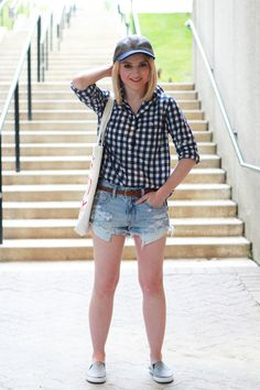Poor Little It Girl - Roxy Slip-Ons via DSW, J.Crew Navy Gingham Shirt, American Eagle Outfitters Denim Shorts #DSWShoeHookUp