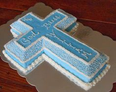 Baking Outside the Box: Decorated Cross Cakes Baby Boy Cakes, Cakes For Boys, Baby Shower Cakes, Wilton Cake Decorating, Cookie Decorating, Wilton Cakes, Cupcake Cakes, Cupcakes, Baptism Cross Cake