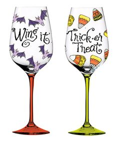 Love this Halloween Hand-Painted Wineglass Set by Cypress Home on #zulily! #zulilyfinds