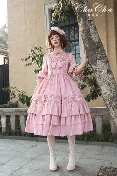 NyaNya Lolita -The Flower Hime- Unicolor Classic Lolita OP Dress (Normal Waist Version)