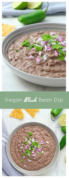 Vegan Black Bean Dip - Eat. Drink. Shrink. Vegan Foods, Vegan Snacks, Vegan Recipes, Black Bean Dip, Black Beans, Bulk Food, A Food, Appetizer Recipes, Appetizers