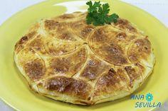 Empanada de bacalao olla GM Ana Sevilla Gm Olla, Empanadas, Pepperoni, Pancakes, Pizza, Breakfast, Food, Casserole Recipes, Cooking
