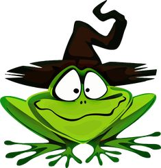 Clipart - Frog Wearing Witch's Hat