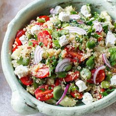 Broad bean and feta quinoa tabbouleh minus the feta Healthy Grains, Healthy Cooking, Healthy Eating, Delicious Vegan Recipes, Vegetarian Recipes, Healthy Recipes, Lunch Recipes, Salad Recipes, Good Food