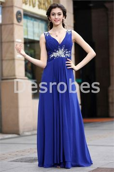 Robe de soirée 2014 bleu roi romantique décoration perlée plein longueur