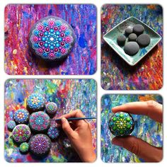 The artist at work... #elspethmclean #stone #rocks #mandala #paintedrock #artistatwork