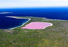 """LAGO HILLIER (AUSTRÁLIA) Mais conhecido como """"lago Rosa"""", o Hillier fica em Middle Island, a maior das ilhas do arquipélago de Recherche. A água cor-de-rosa não tem uma explicação comprovada cientificamente. Uma das hipóteses é que o tom venha de um corante produzido por uma bactéria proveniente das crostas de sal do lugar."""