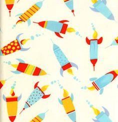 1 yard ROBOTS Rocket fabric by David Walker  by quilttaffy on Etsy, $9.50
