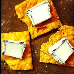 Cheddar Crispies and ash goat cheese. Great combo!  Photo:  rekfotos